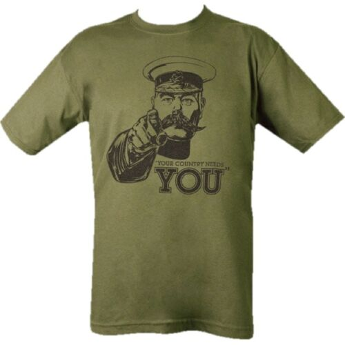 MENS ARMY T-SHIRT S-2XL WW1 LORD KITCHENER YOUR COUNTRY NEEDS YOU MILITARY