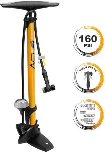 Bicycle Tire Pump 160 Psi Bike Floor Air Pumps Reversible Presta Schrader Valves