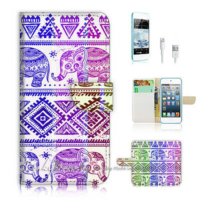 ( For iPod 5 / itouch 5 ) Flip Case Cover! Aztec Elephant P0432