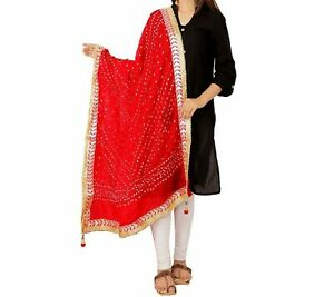 Dupatta-Women-Bandhani-Art-Silk-Bandhej-Indian-Scarf-Rajasthani-Red-Dupatta