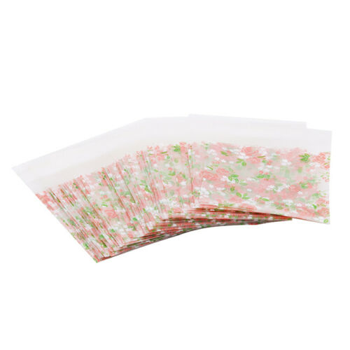 100pcs Plastic Rose Flower Pattern Cookie Package Candy Bag Self-Adhesive S