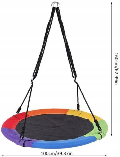 Colourful Kids Nest Round Swing Tree Spin Seat Outdoor Indoor To 330 lbs 39.37in