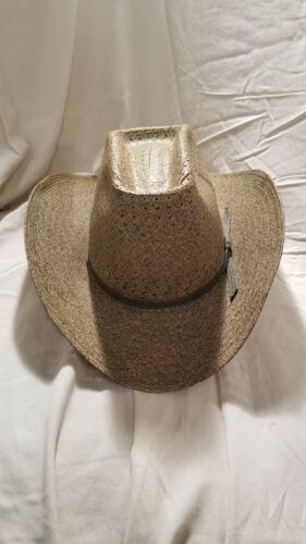 Vintage Ranch Straw Cowboy Hat Size 6 7/8 Olive Gr