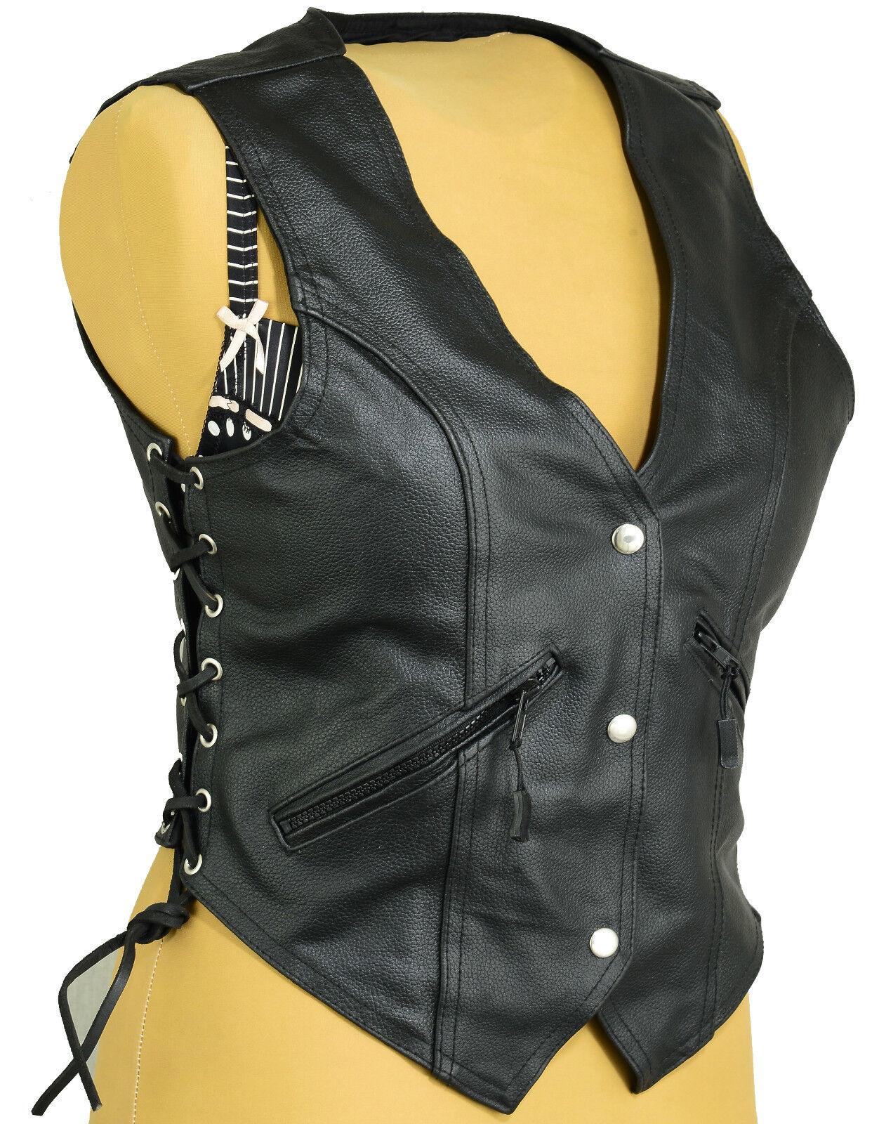 Womens Leather Fashion Vest Waistcoat Laced Sides Motorcycle Cruiser Top Vintage