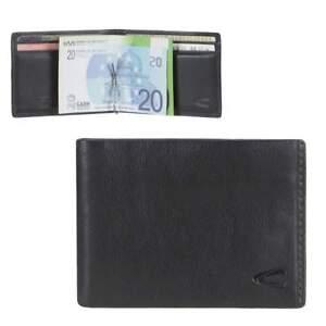 Dollarclip-Leder-RFID-Schutz-Portemonnaie-Geldboerse-schwarz-Camel-Active