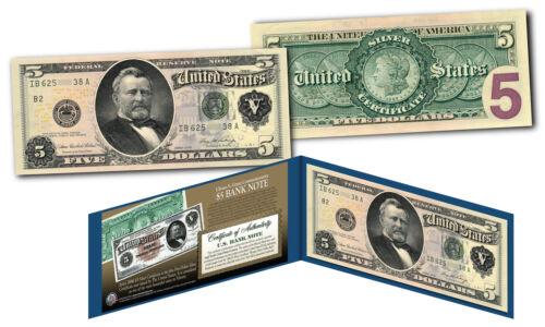1886 Morgan Silver Dollar Back $5 Silver Certificate Banknote on Modern $5 Bill