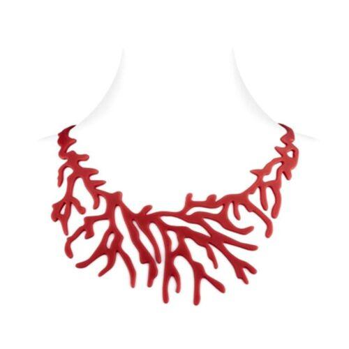 Collier Femme Corail effet Tatouage en Silicone Rouge