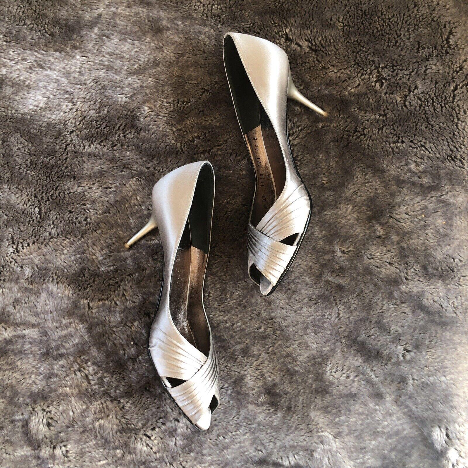 Salvatore Ferragamo Silver Grey Peep Toe Silk Satin Heels 9.5 B