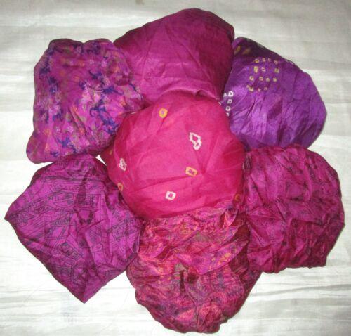 environ 0.30 m Magenta Craft # AEL0 Lot Pure Soie Vintage Sari Remnant Tissu 7 pcs 1 ft