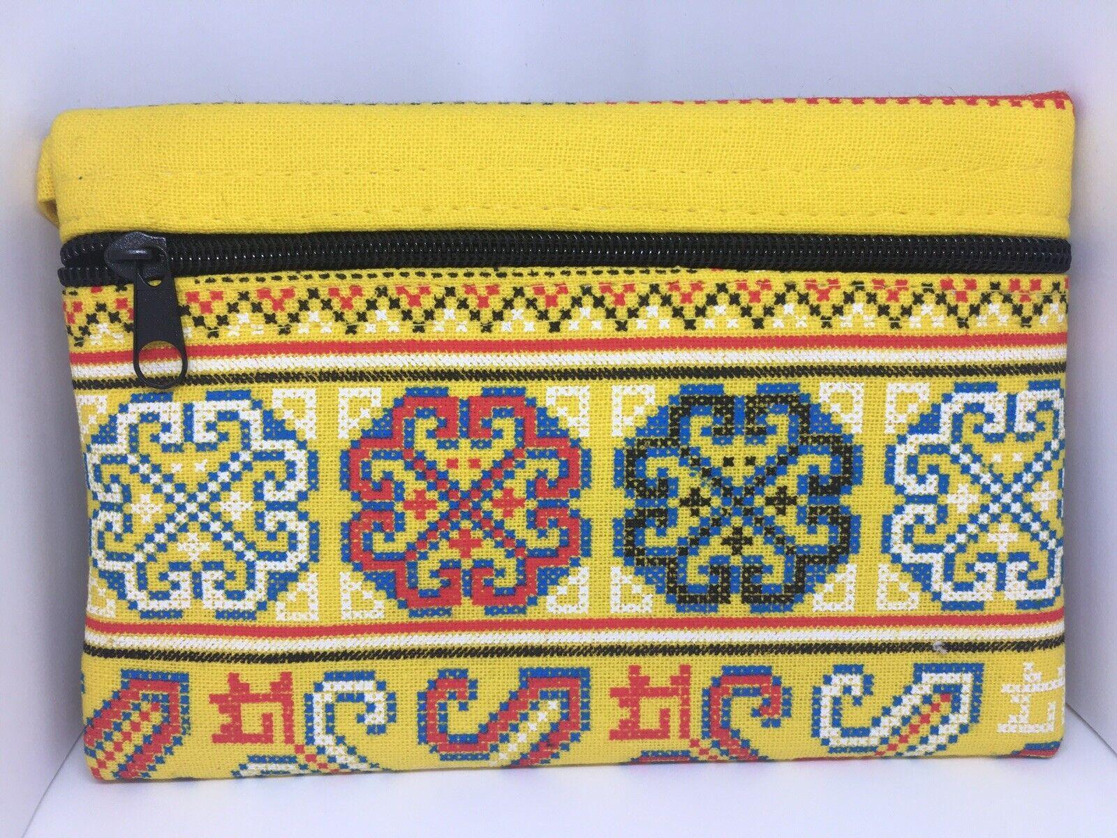 Beautiful Handmade Yellow Cosmetic, Card, Coin Bag, Purse Aprox 18x13cm