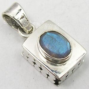 "BLUE FIRE CABOCHON LABRADORITE JEWELRY Earrings 1.5/"" 925 Solid Silver Jewelry"