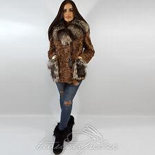RUNWAY Goatskin Silver Fox FUR COAT Pelz Mantel Ziegen Silberfuchs L XL