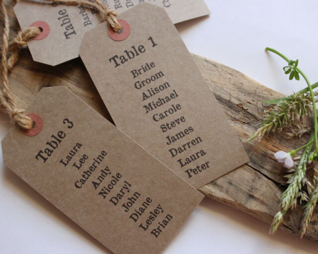 TABLE PLAN TAGS-Kraft-Luggage Tags-Wedding-Vintage-Rustic-Shabby Chic