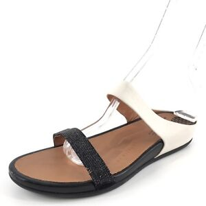 75d10c47a1632 FitFlop FF2 Banda Opul Black Leather Strappy Sandals Women s Size 41 ...