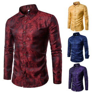 Mens-Fashion-Casual-Long-Sleeve-Shirt-Business-Slim-Fit-Shirt-Print-Blouse-Tops