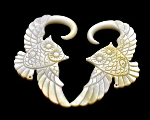 Pair of Mother of Pearl Owl Ear Hooks Plugs set gauges PICK SIZE organic