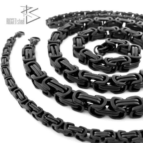 El rey cadena cadena de acero inoxidable tanques collar cadena hombres señores negro