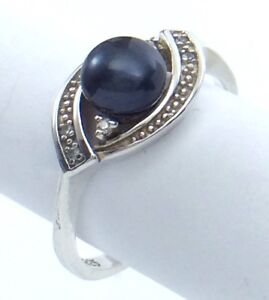 Vintage-Women-Ladies-Size-7-75-US-Black-Pearl-Stone-Sterling-Silver-Ring-G673