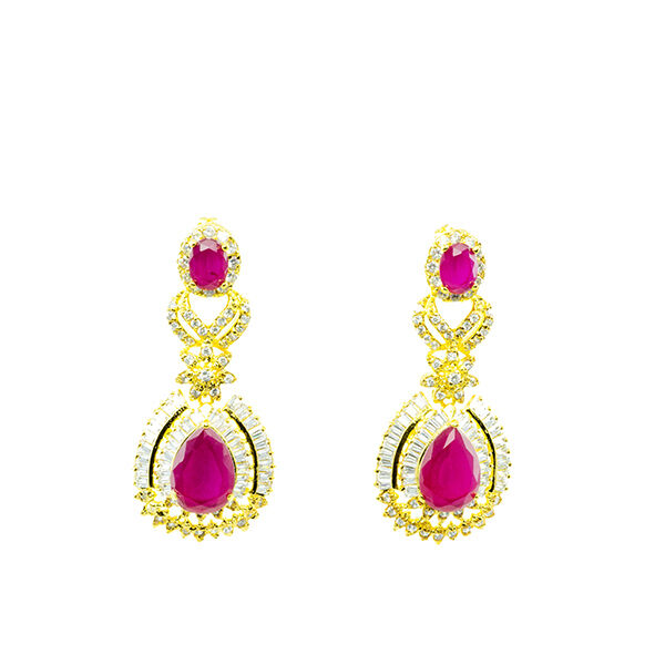 gold PLATED LUXURY EARRINGS PIN RUBY DROP ROUND WITH WHITE CZ 24K YELLOW gold