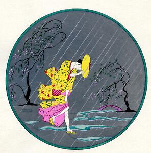 1930s French Pochoir Print Asian Motifs Cherry Tree Woman Yellow Kimono