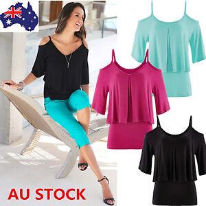 AU-8-22-Women-Ladies-Off-Shoulder-V-Neck-Casual-Shirt-Loose-Top-Blouse-Plus-Size