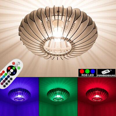 RGB LED Decken Lampe FERNBEDIENUNG Schlaf Zimmer Holz Lamellen Leuchte dimmbar