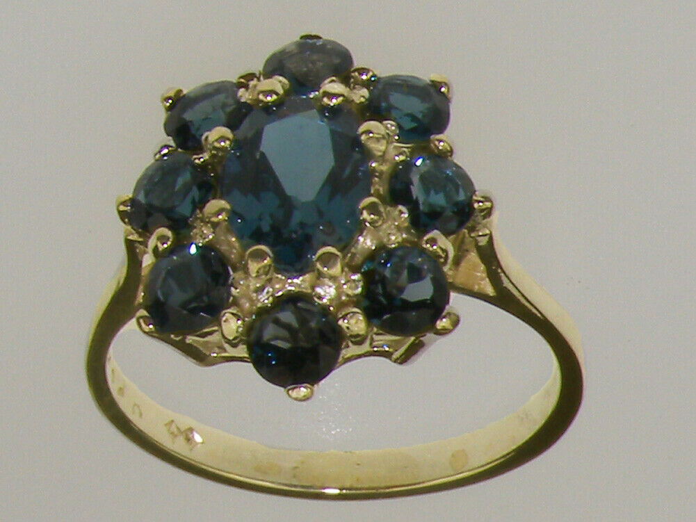 18k Yellow gold Natural London bluee Topaz Womens Cluster Ring - Sizes 4 to 12