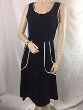 ModCloth Sunny Girl Black Sleeveless Dress with White Satin Trim