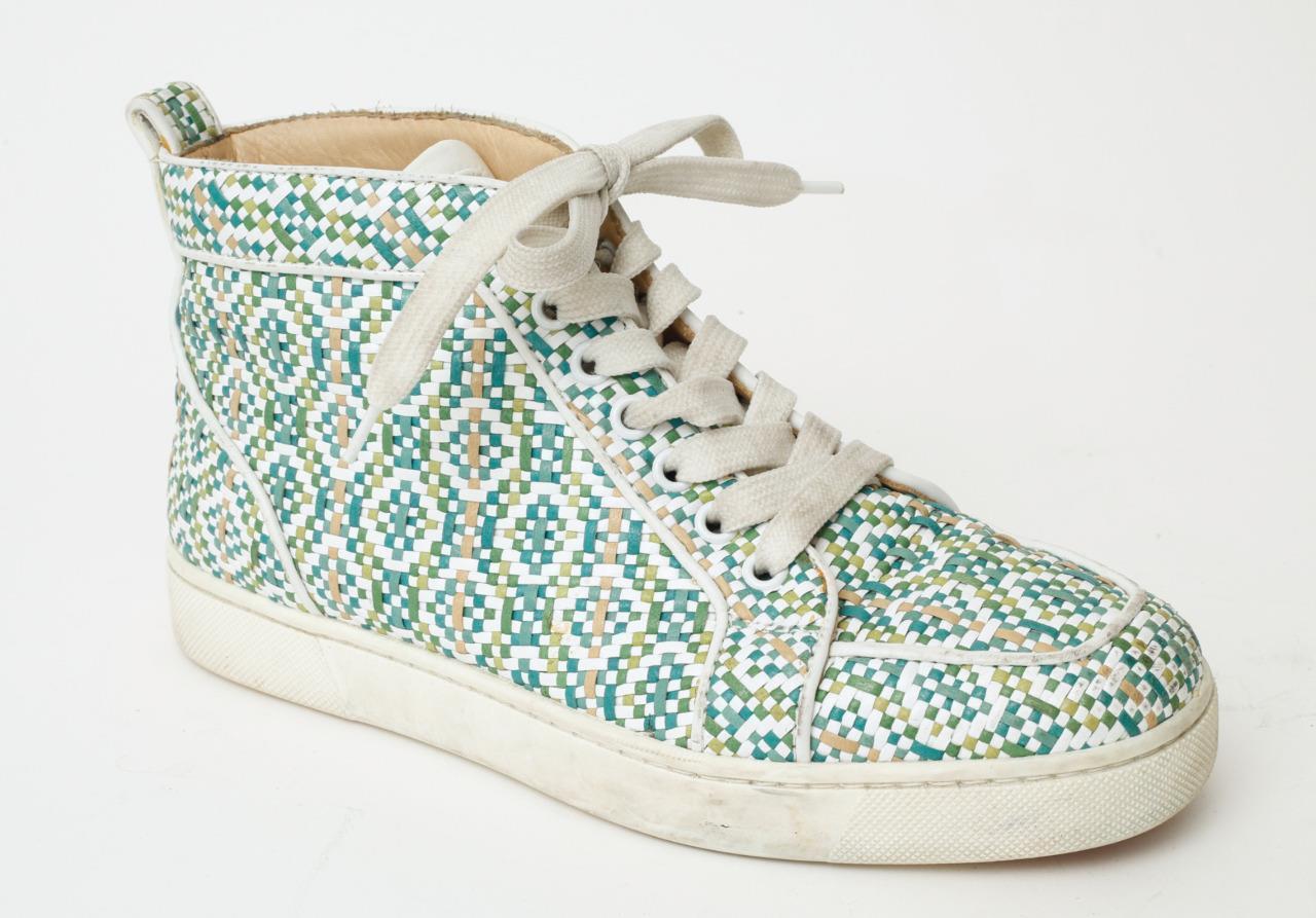 Christian Louboutin multiColor de cuero tejido de Alto Top Zapatillas Con Cordones 7.5-37.5