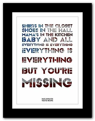 ❤ BRUCE SPRINGSTEEN - You're Missing ❤ song lyric poster art print - 4 sizes
