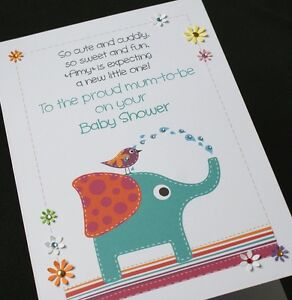 Large A5 Handmade Personalised Very Cute Baby Shower Card Ebay