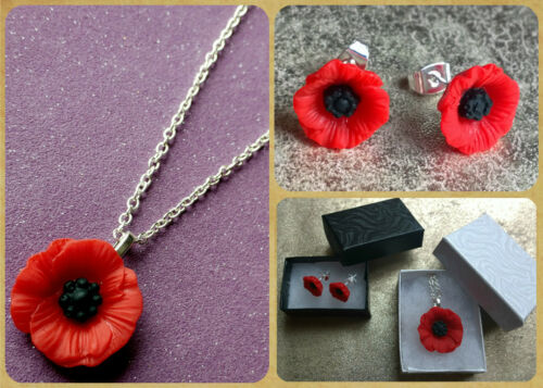 STUNNING POPPY RED POPPIES FLORAL STUD EARRINGS NECKLACE SILVER FREE GIFT BOX