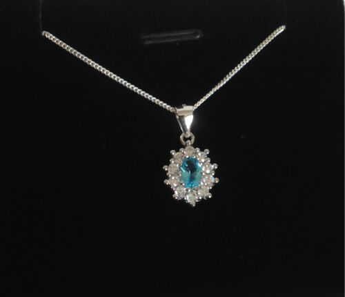 925 Sterling Silver Cluster Necklace Aqua Blue Cubic Zirconia Gift Boxed Present