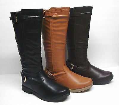 New Women's Mid Calf Winter  Fashion Boots Size 5 - 10 Black, Brown & Tan