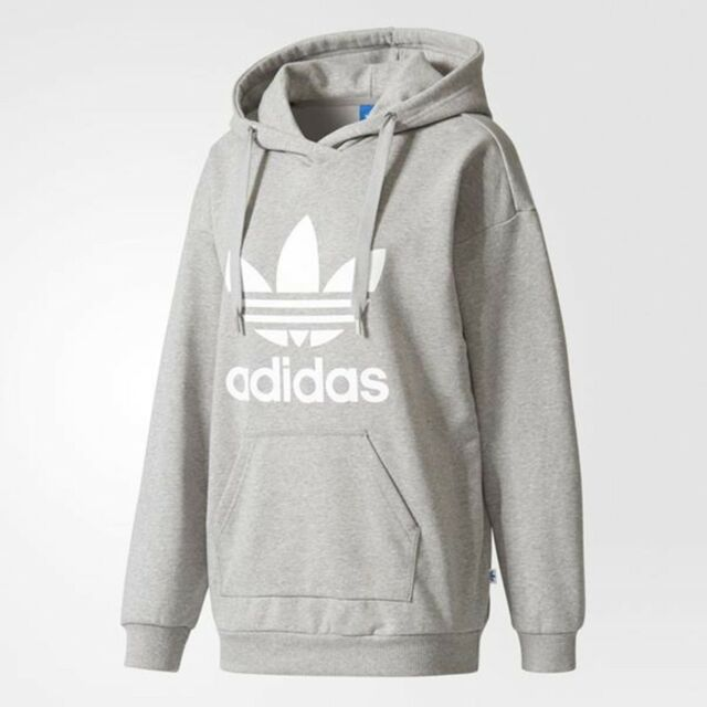 huge discount 9377d 03303 NEW ADIDAS ORIGINALS WOMEN S TREFOIL HOODIE ~SIZE XS  BP9486 GRAY