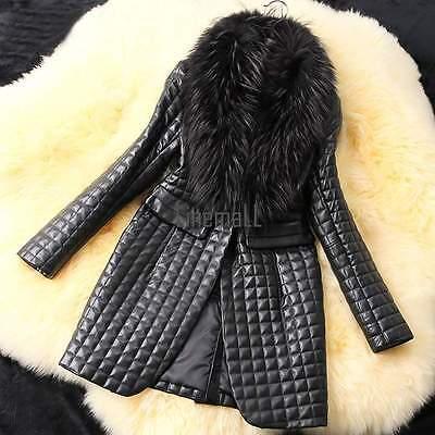 Women's Ladies Winter Warm Fur Collar Coat Leather Jacket Overcoat Parka Outwear