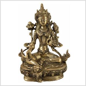 Grüne Tara auf Podest 48,5cm 12kg Buddha Shyama Beschützerin Messing Handarbeit
