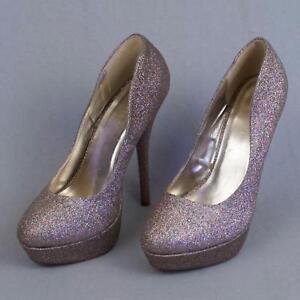 round toe glitter heels