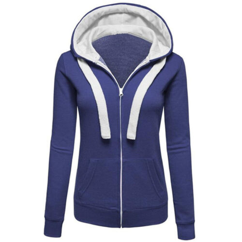 Winter Plain Zip Up Fleece Hoody Women Sweatshirt Coat Jacket Top Hoodies 4-14