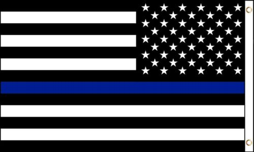 THIN BLUE LINE 3/' x 5/' Flag Banner Metal Grommets PATRIOTIC POLICE SUPPORT