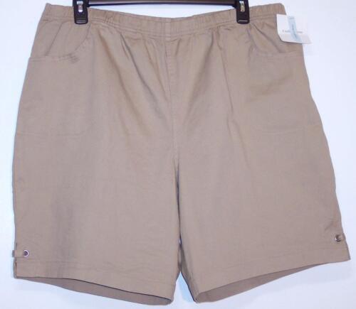NWT Croft Barrow Comfort Elastic Waist Stretch Shorts 1X 3X 4X Taupe Khaki
