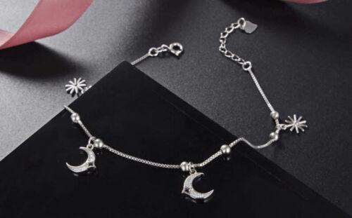 B22 Fußkette Fußkettchen Mond und Stern Sternchen Sterling Silber 925