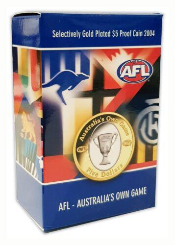 2004 AUSTRALIA FOOTBALL CLUB AFL GOLD PLATED $5 FIVE DOLLARS PROOF COIN RAM