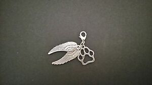 UK-Dog-Cat-Paw-Print-Angel-Wing-Clip-Charm-Bracelet-Key-Chain-Lost-Pet-Memory