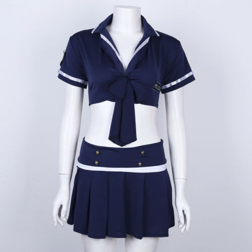 Women Pleated Mini Skirt Policewoman Lingerie Uniform Outfit Cosplay Costume