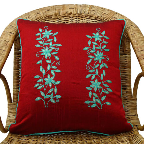 Maroon Floral Brodé Square Pillow Cover Decorative Poly Doupion Taie d/'oreiller