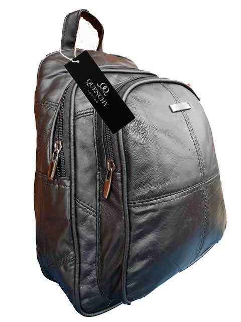 Small Premium Soft Leather Backpack Rucksack Handbag Black Quenchy London Ql958