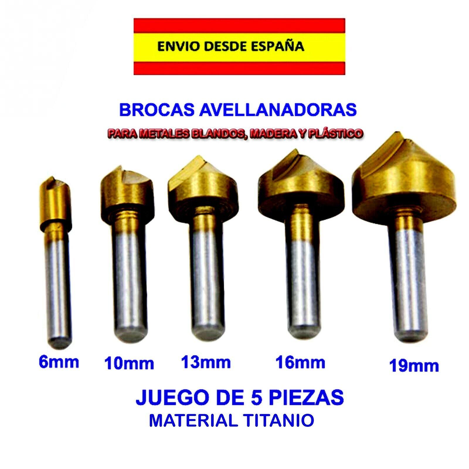 s l1600 - BROCAS AVELLANADORAS FLAUTA 5 PZ CARPINTERIA BICROLAGE MANUALIDADES INSTALACIÓN