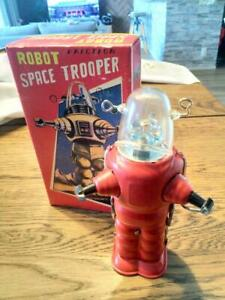 Retro-tin-robot-space-Trooper-Vintage-antique-Tinplate-Toy-Rare-Limited-Showa