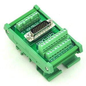 DIN-Rail-Mount-D-SUB-DB26HD-Male-Interface-Module-Breakout-Board-DSUB-DB26
